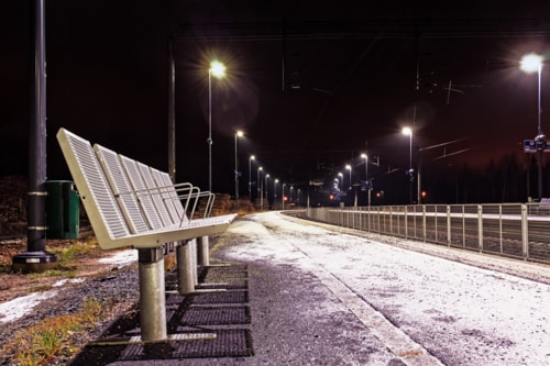 Six Metal Seats At The Railway Station via Jukka Heinovirta
