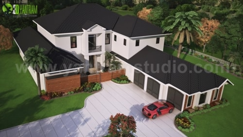 Modern 3D Exterior Rendering (top view) with brown metal roo... via Yantram Studio