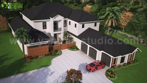 Modern 3D Exterior Rendering (top view) with brown metal roo... via Yantram Studio