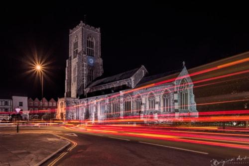 Light trails in front of St Giles church in Norwich - demo s... via Joe Lenton