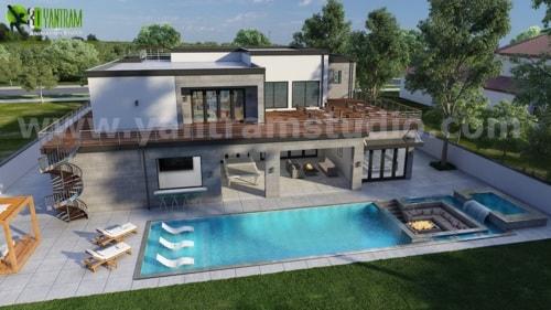 3D Exterior Walkthrough Home Design with Pool Side Evening v... via Yantram Studio