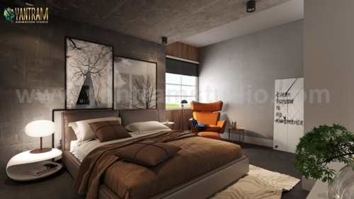 Modern Master Bedroom Design Concept with 3D Interior Render... via Yantram Studio