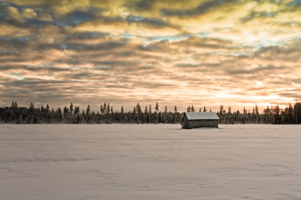 Sunset Over The Snow Covered Fields via Jukka Heinovirta