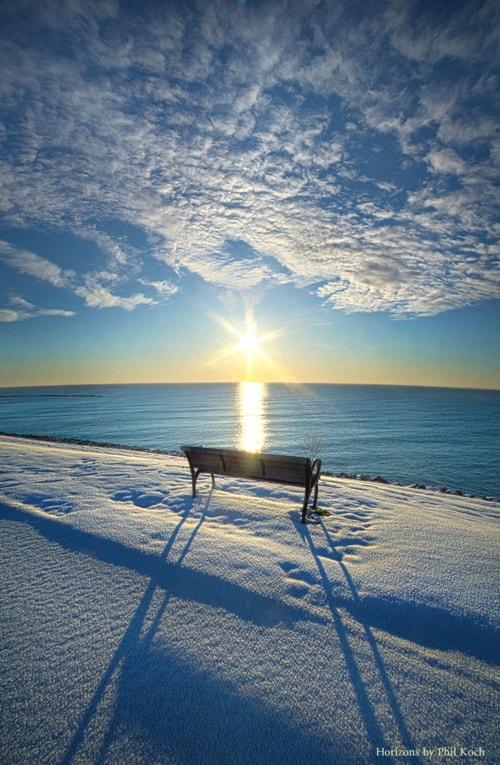 """Gone But Not Forgotten""                                     Sunrise on the shore of Lake Michig... via Phil Koch"
