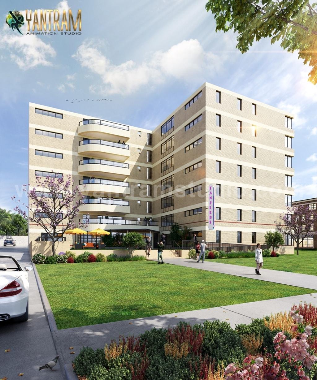 Modern Exterior & Interior Apartment Building design ideas b... via Yantram Studio