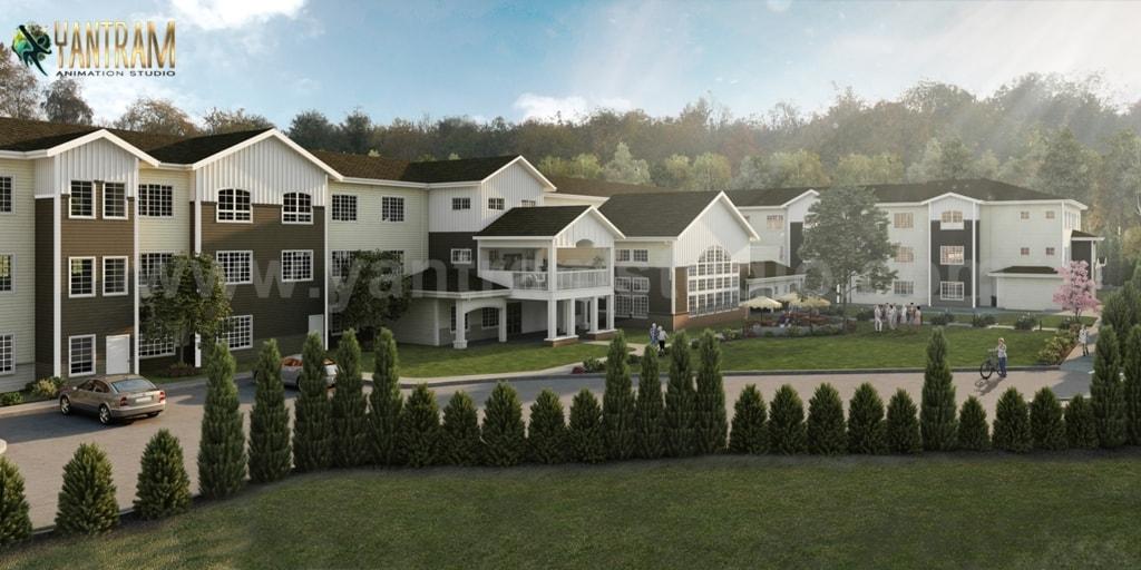 Active Adult living Residential Community of 3D Exterior Des... via Yantram Studio