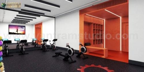 Commercial Fitness GYM 3D Interior Designers Ideas by Archit... via Yantram Studio