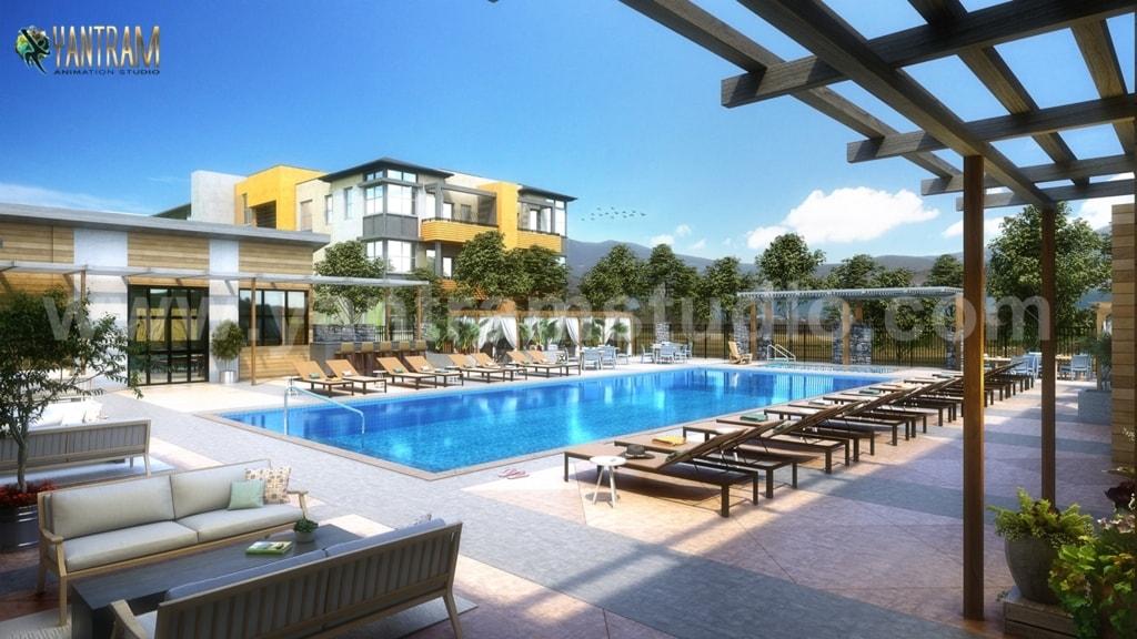 Contemporary Courtyard Pool View of Exterior Rendering Servi... via Yantram Studio