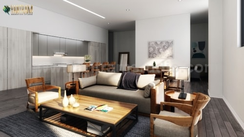 3D Interior Designers for a Modern Living/ Kitchen/ Dining R... via Yantram Studio