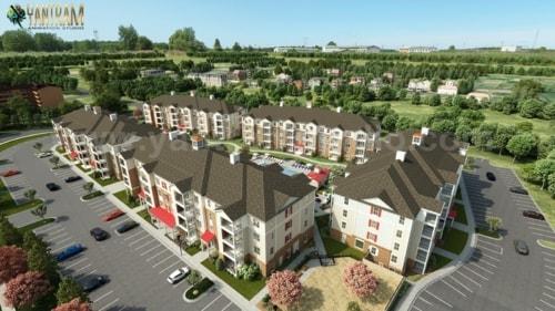 Aerial View Residential Exterior Landscape Community                                                                          #lands... via Yantram Studio