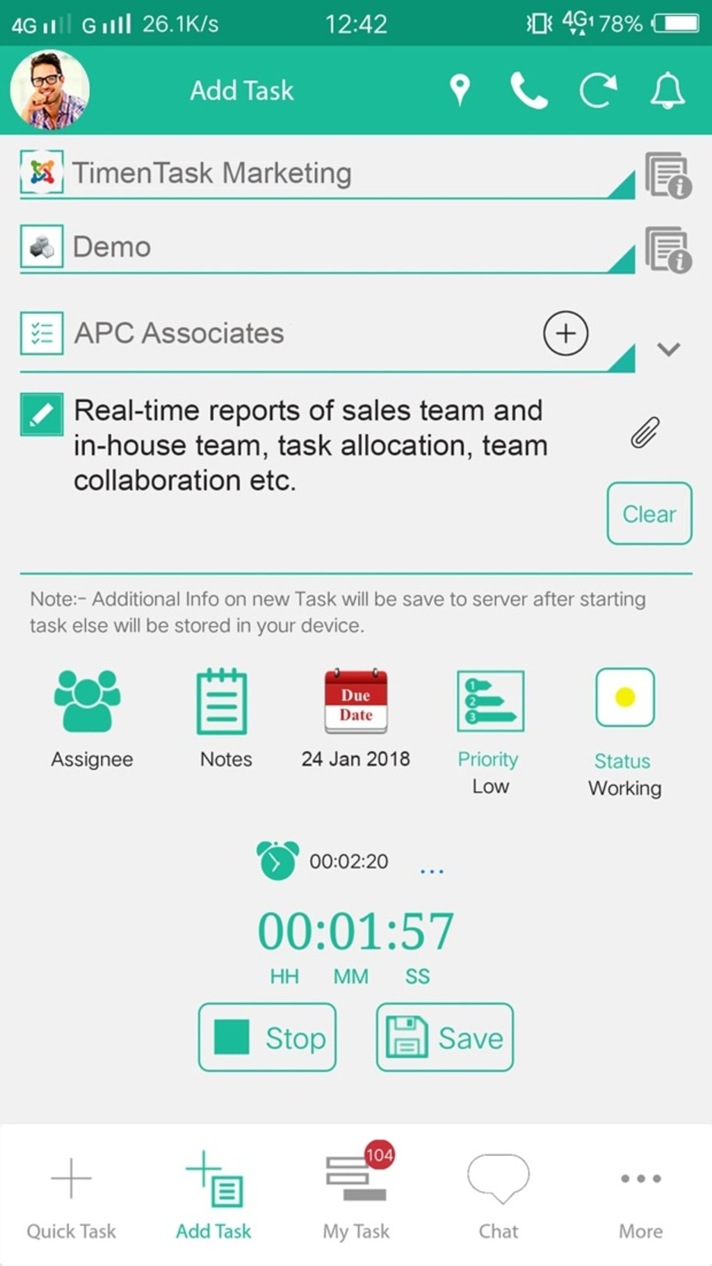 Mobile Time Tracking Application via TimenTask