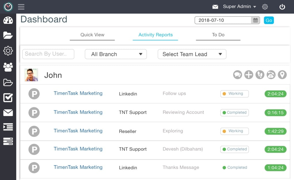 Team Monitoring Software via TimenTask