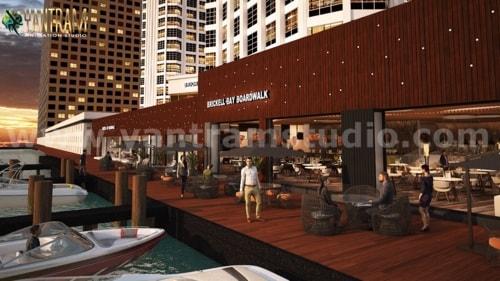 360 Panoramic Water side Restaurant Exterior & Interior View... via Yantram Studio