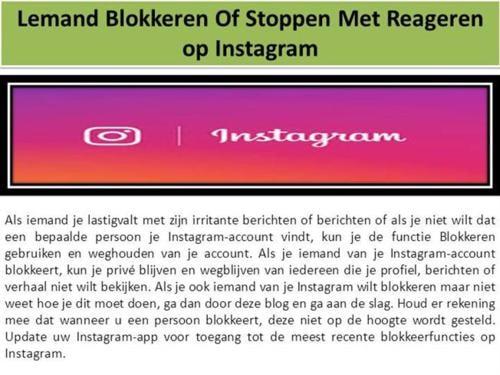 Lemand Blokkeren of Stoppen Met Reageren Op Instagram