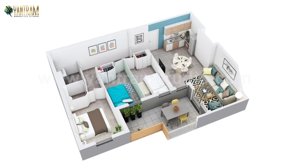 3D Home Floor Plan Design of Residential Apartment Layout                                          [... via Yantram Studio