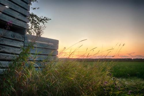 The late summer sun sets beautifully behind the wooden crate... via Jukka Heinovirta