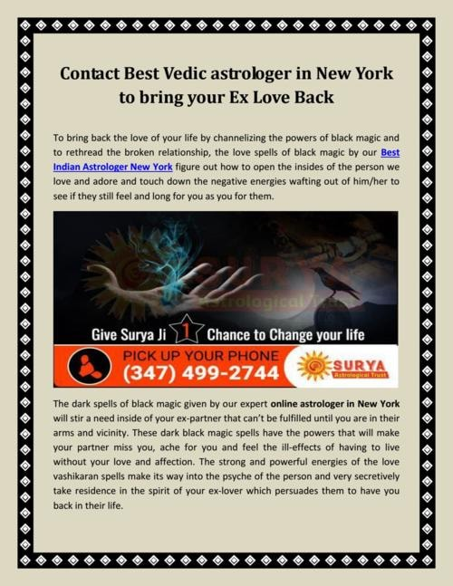 Contact Best Vedic astrologer in New York to bring your Ex Love Back