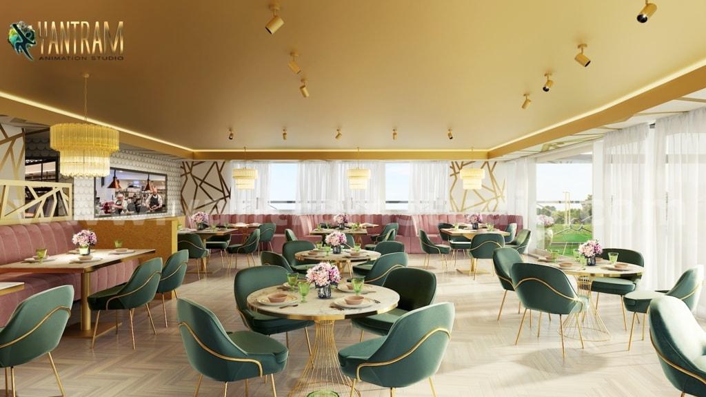Magnificent Modern Restaurant 3D Interior Designers by Archi... via Yantram Studio