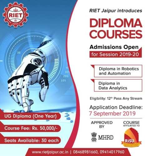 RIET Jaipur Introduces Diploma Courses via RIET Jaipur