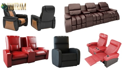 Realistic Home Theater 3D Sofa Chair Modeling and Visualizat... via Yantram Studio
