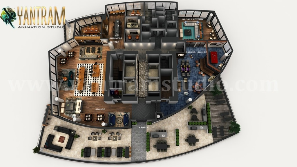 A wonderful office plan to start the day! Professional 3D Vi... via Yantram Studio