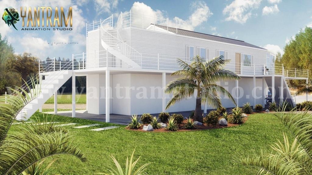 Fabulous White Vacation Home 3d exterior house designs & 3d ... via Yantram Studio