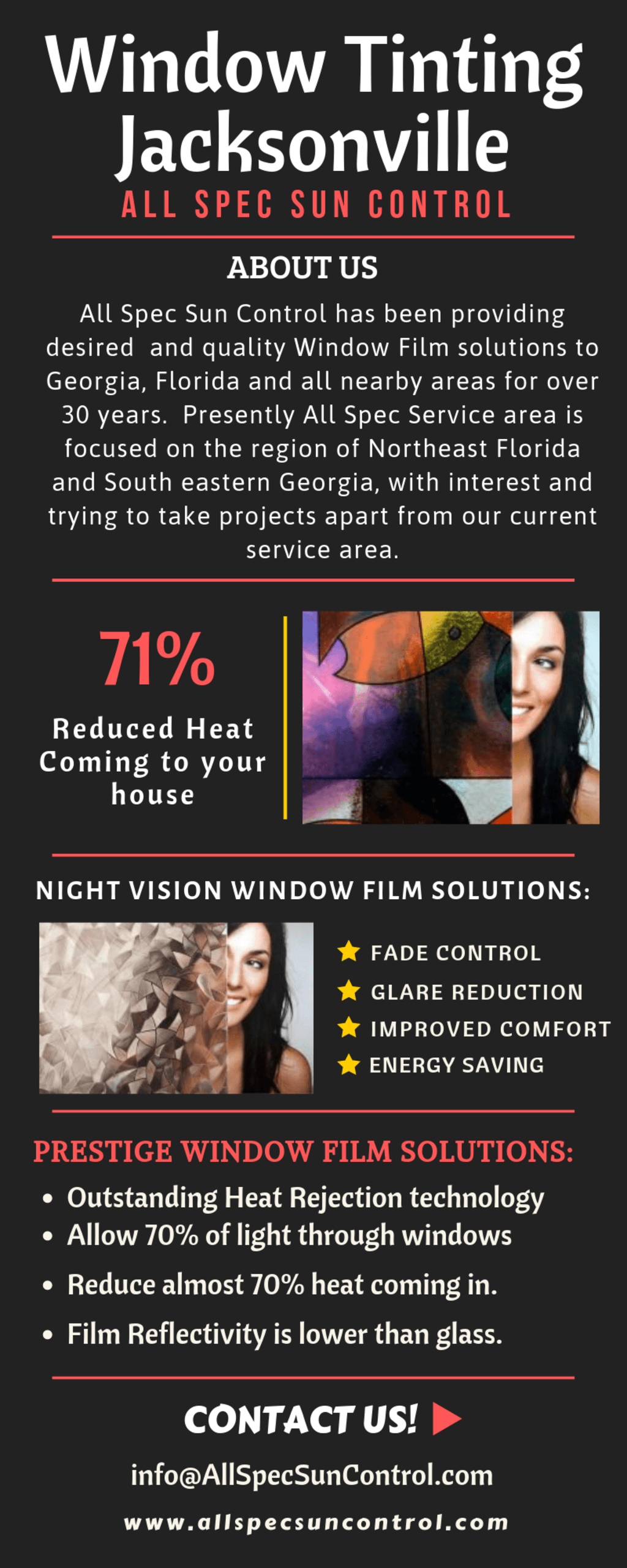 Window Film Jacksonville Fl via ALl Spec Sun Control