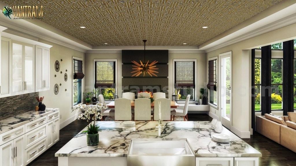 Contemporary Residential 3d interior designers of kitchen is... via Yantram Studio