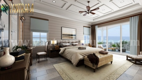 Contemporary Master Bedroom with Species Balcony 3d interior... via Yantram Studio