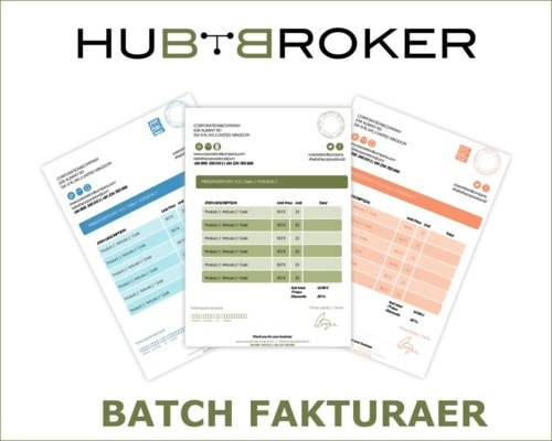Batch Fakturaer Online e-conomic via HubBroker Aps