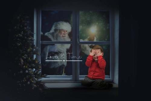 Santa in the window, Christmas Digital Backdrop, Background, Download