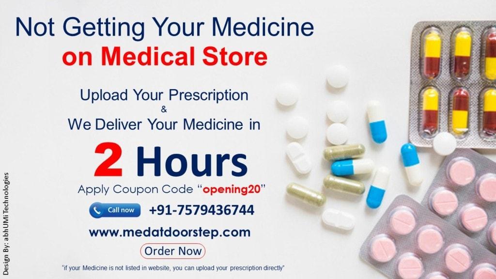 Online medicine delivery in just 2 hours with 25% flat disco... via Medatdoorstep 💊💊 📲+91-7579436744