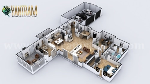 4-bedroom Simple Modern Residential 3D Floor Plan House Desi... via Yantram Studio