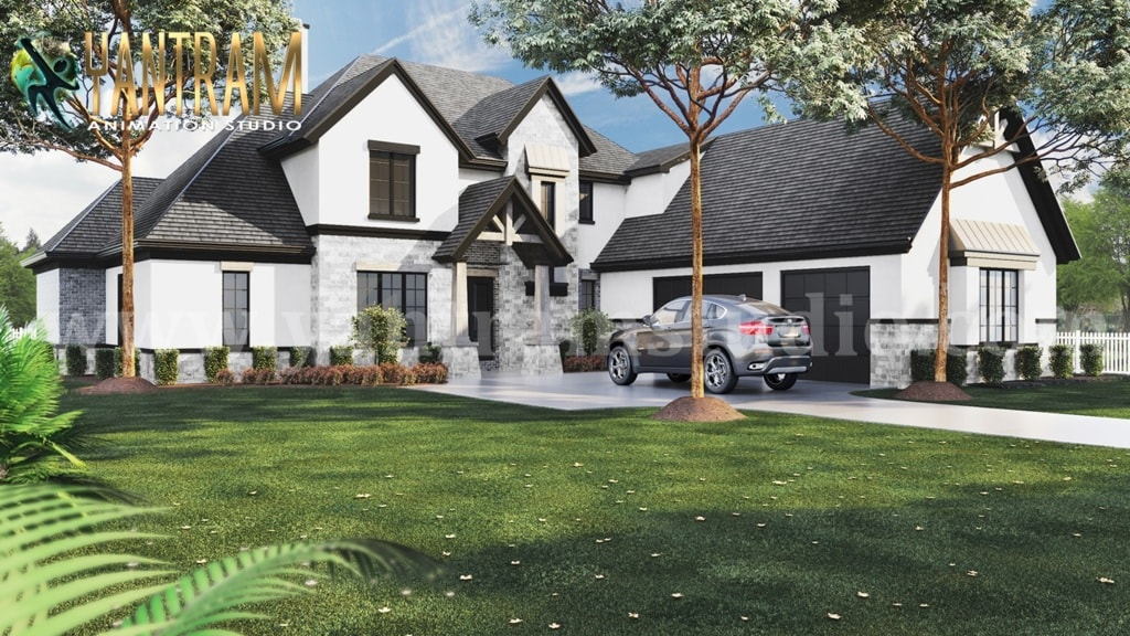 4-bedroom Simple Modern Residential 3D Floor Plan House Desi... via Yantram Studio