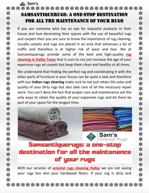 Samsantiquerugs: a one-stop destination for all the maintenance of your rugs