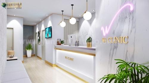 Contemporary, minimalist Office Reception Desk 3D Interior D... via Yantram Studio