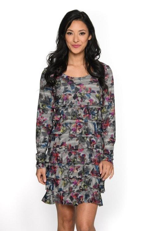 Shop Screen Flowers Long Sleeve Cha Cha Dress Online via Isle by Melis Kozan