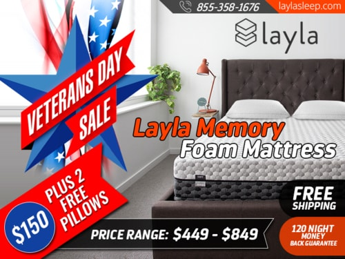 Veterans Day Sale on Sleep Products - Layla Sleep                                     Get $150 O... via Layla Sleep