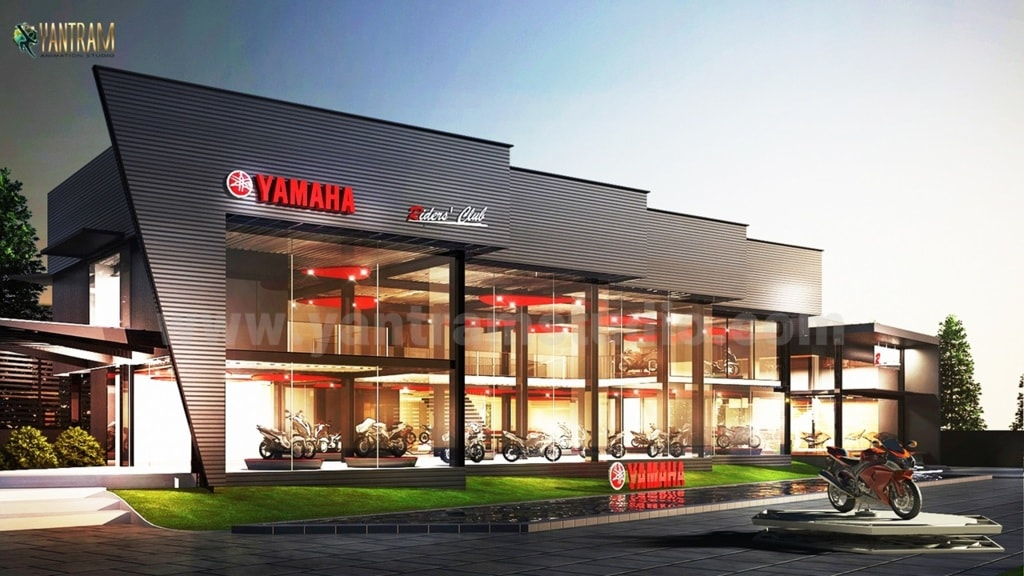 3d exterior rendering services and 3d animation showroom for... via Yantram Studio