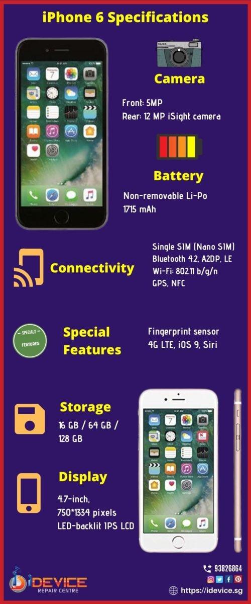 iPhone 6 Specifications                                     #iPhone #iPhoneRepair #iPhoneCareCen... via iDevice Repair Center Singapore