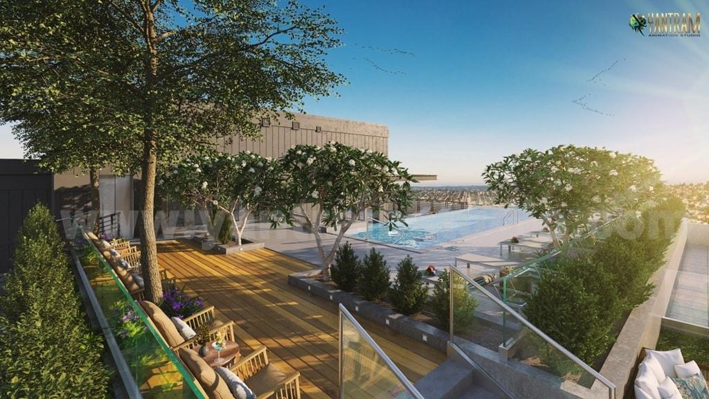 Rooftop Landscaping Pool view of Exterior Rendering Services... via Yantram Studio
