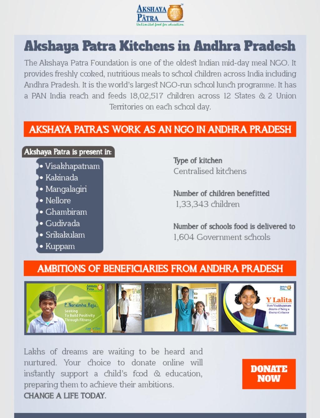 Akshaya Patra Kitchens in Andhra Pradesh via Akshaya Patra