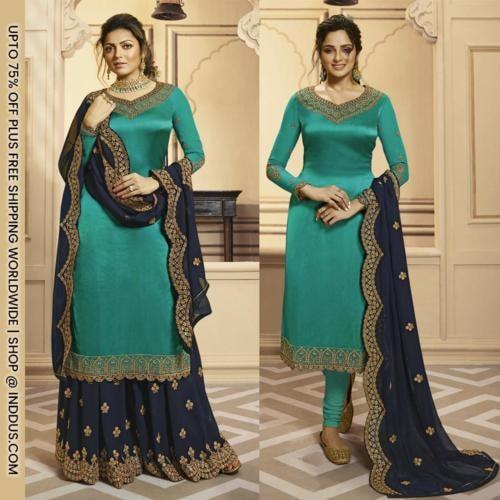 Drashti Dhami Blue Satin Georgette Palazzos via Sagar Singh