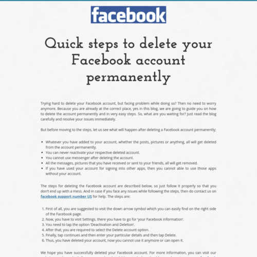 Quick steps to delete your                                         Facebook account permanently