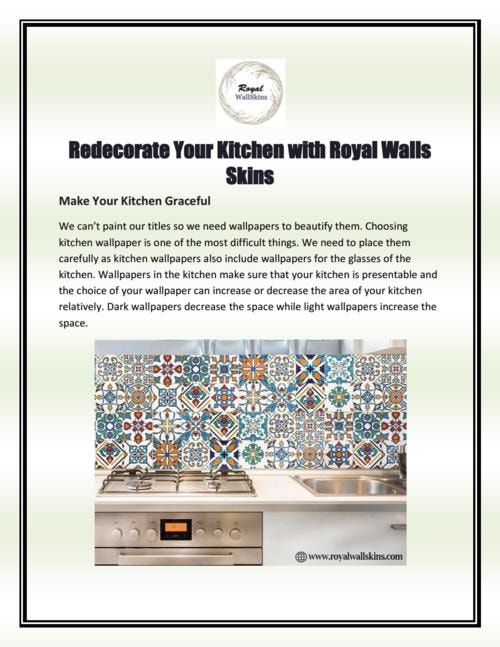 Redecorate Your Kitchen with Royal Walls Skins