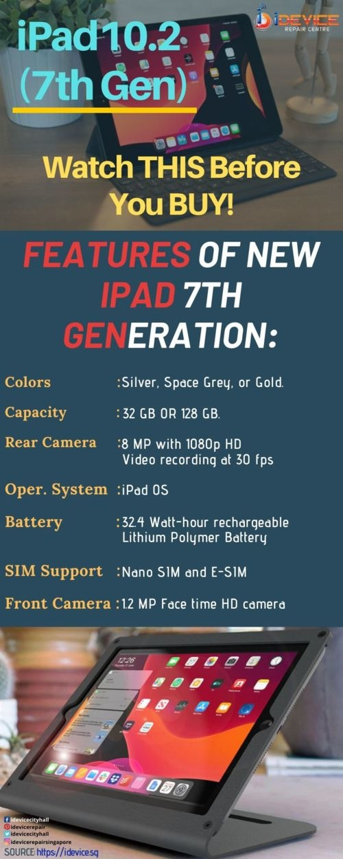 Features of the new iPad10.2 (7th Generation)                                     For more detai... via iDevice Repair Center Singapore
