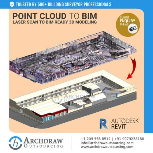 Get the Point Cloud to BIM & laser Scan to BIM ready 3D Mode... via Archdraw Outsourcing