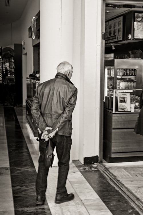 The husband waits while his wife gets something from the sho... via Jukka Heinovirta