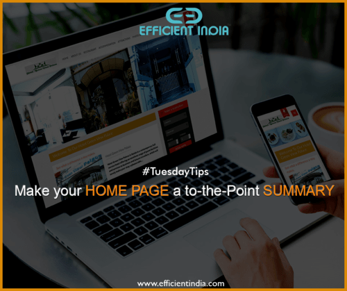 The home page is the most important entrance page to your we... via Efficient India