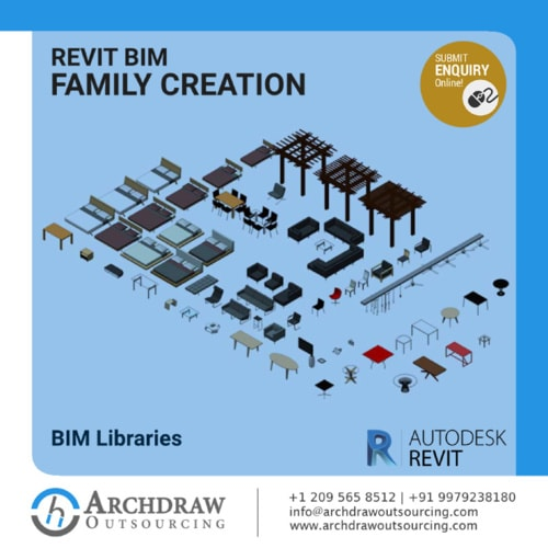 High Quality Revit BIM Family Creation Services via Archdraw Outsourcing